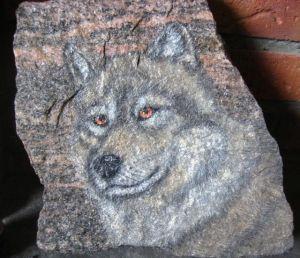 Wolf painted on granite