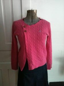 Asymmetrical pink cardigan