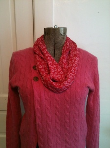 Red flowered infinity scarf